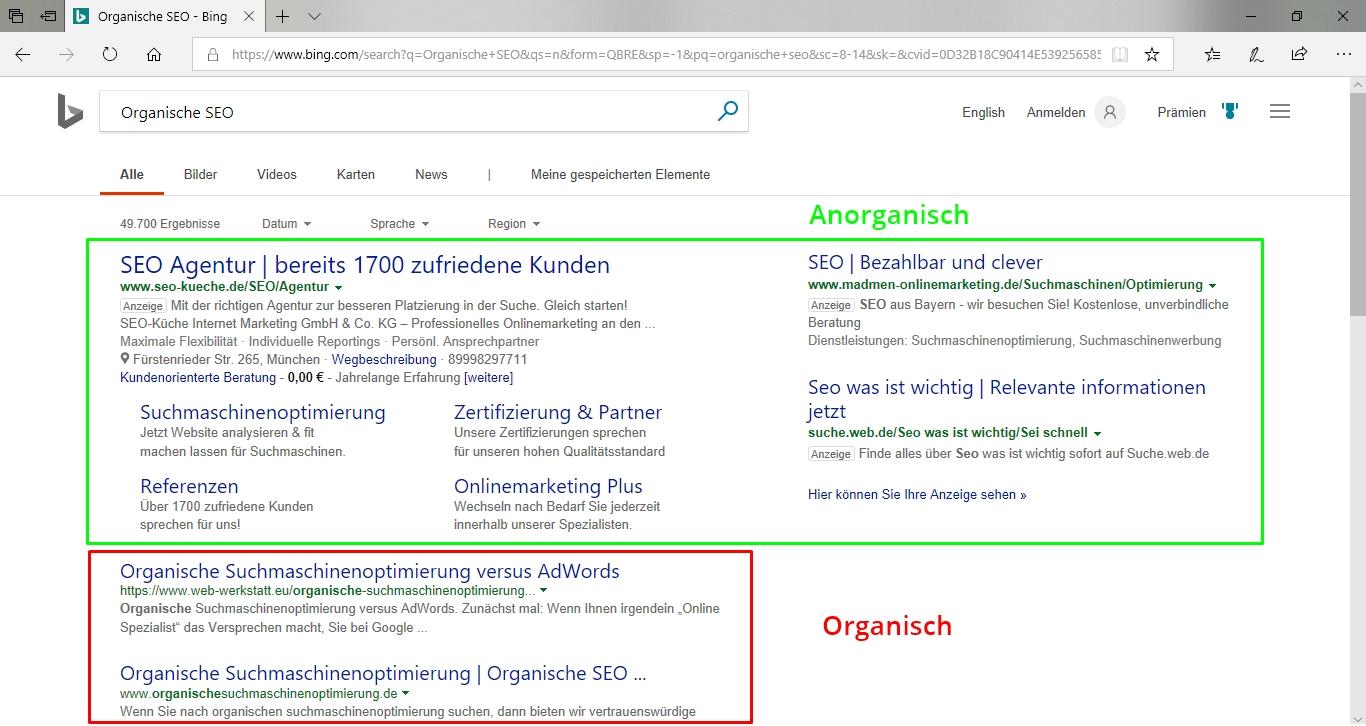 Screenshot, der die Platzierung von organischer SEO und SEA aufzeigt