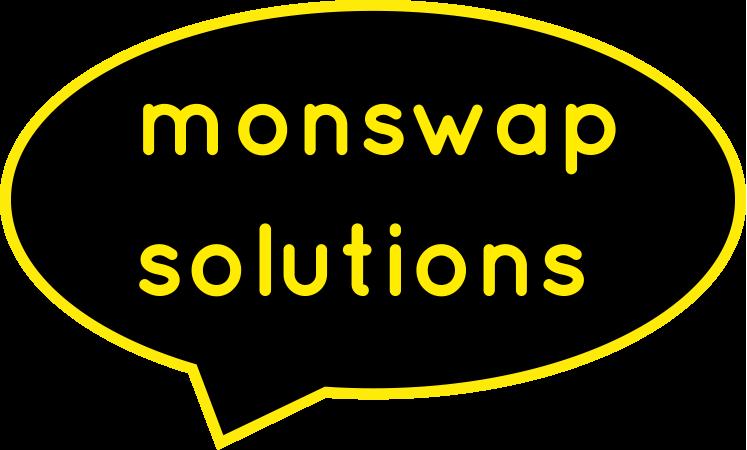 Logo von Freier Texter Monika Weber: eine schwarze Sprechblase, in der mit gelber Schrift monswap solutions steht