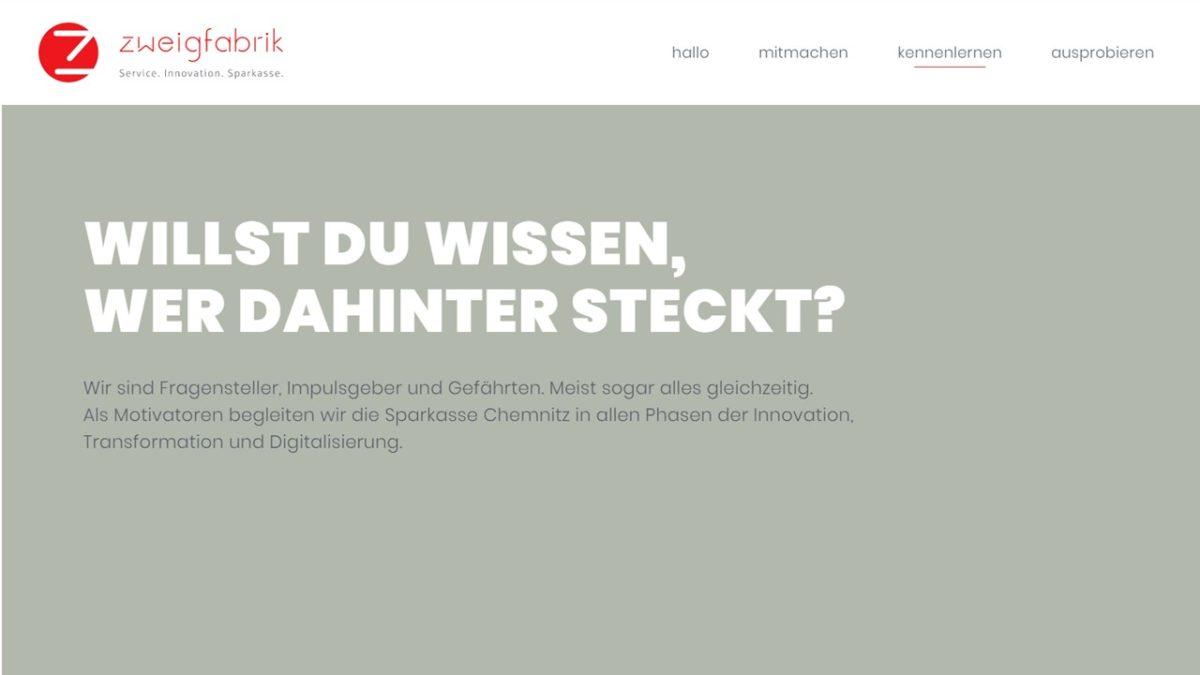 Screenshot der Website zweigfabrik.de als Arbeitsprobe von Texter Monika Weber