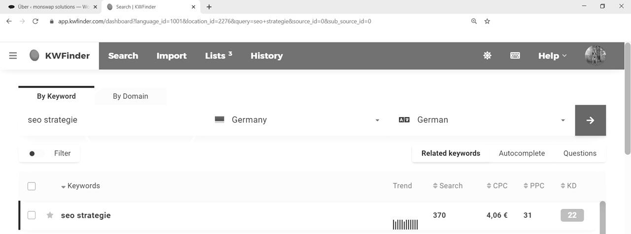 Keyword-Recherche für eine SEO-Strategie: Screenshot des Tools Mangools