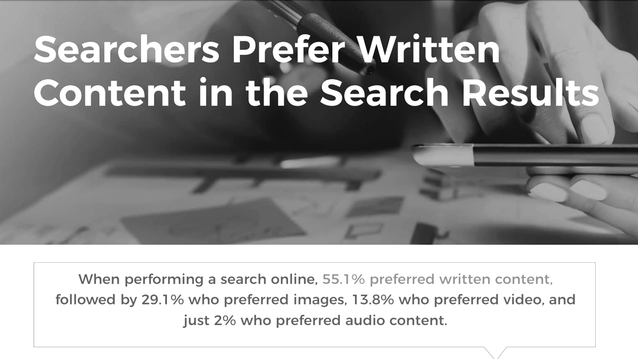Screenshot of a study that proves: Google prefers professional text content