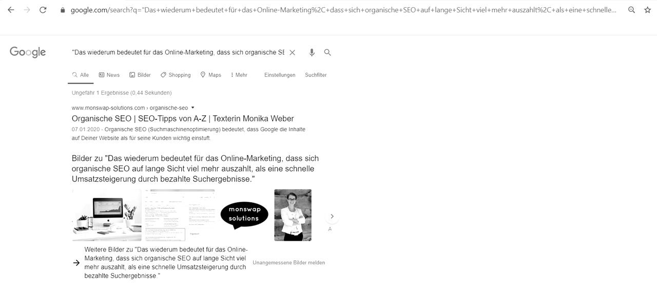 Symbolbild für Unique Content Recherche: Screenshot einer Überprüfung auf Unique Content mit Hilfe von Google